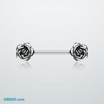 Double Rose Flower Nipple Barbell Ring