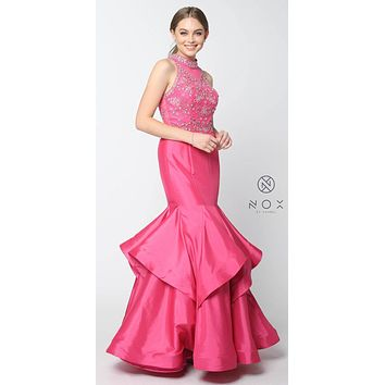 Fuchsia Jeweled Bodice High-Neck Tiered Mermaid Prom Dress Long