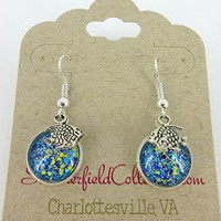 Silver-Tone Blue Yellow and Holographic Glitter Glass Fish Charm Dangle Earrings