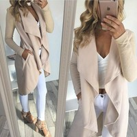 Autumn Women Cardican Jackets Open Stitch 2017 Long Sleeve femininas Casual Coat Apricot Turn-down Collar Pocket Outfit GV916