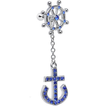 Blue Gem Ship Wheel and Anchor Dangle Helix Cartilage Earring