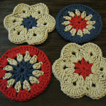 Crochet Coaster - African Flower Coasters - Set of Four Patriotic Coasters or Face Scrubbies