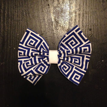 Blue and white greek key hair bow-Hair Accessories-Hair Clips-Hair Barrette-Cotton Hair Bow-Back to School- LA Dodgers Hair Bow-Cowboys Bows