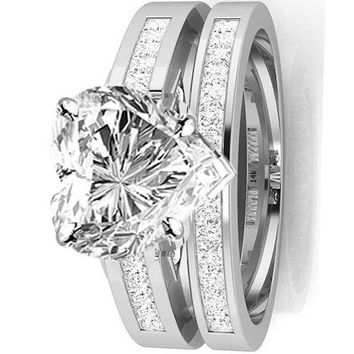 .1.45 Ctw 14K White Gold GIA Certified Heart Cut Channel Set Princess Cut Bridal Set Diamond Engagement Ring Wedding Band, 0.75 Ct G-H VS1-VS2 Center