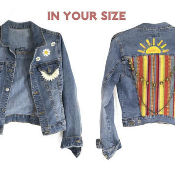 Denim Jacket In Your Size Boho Southwestern Festival Vintage Blue Jean Jacket Small Medium Large XL