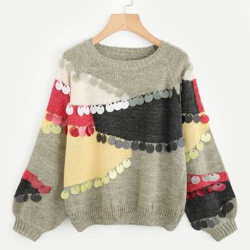 Multi-Color Sequin Detail Raglan Jumper Bishop Sleeve