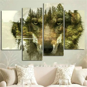 4Pcs Wolf Forest Modern Canvas Painting Picture Print Landscape Home Decoration Abstract Wall Art Oil Painting Gift No Frame