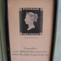 Vintage 1940's WWII era English Queen Victoria Penny Black British Dedication of Postage Stamp