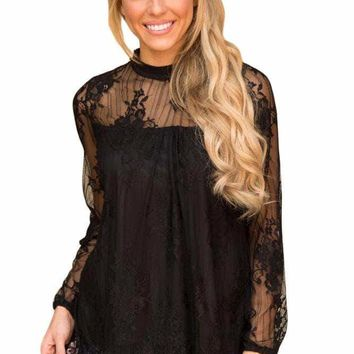 Black Glam Floral Pattern Lace Blouse with Eyelash Hem
