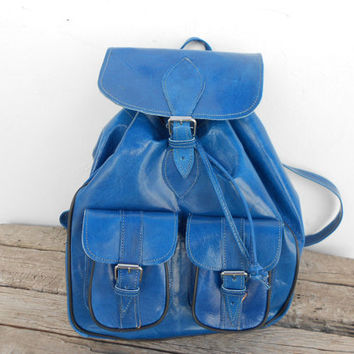 Blue Leather backpack satchel bag Handmade Soft Leather School College Travel Picnic Weekend bag