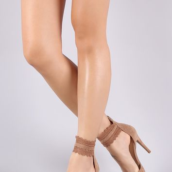 Shoe Republic LA d'Orsay Scallop Ankle Lace Pointy Toe Pump
