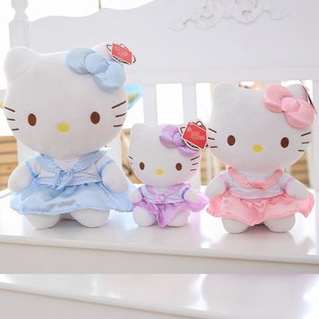 BABIQU 1pc Kawaii 18/25/30cm Sitting hello Kitty Cat Animal Pink Blue Purple plush Toy Soft Stuffed girl Cute Doll Kid love Gift