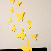 Yellow Butterflies, Paper Butterflies, Wall Arts, Wall hangings, Butterfly wall art, art, home decor, butterfly wall decal, butterfly