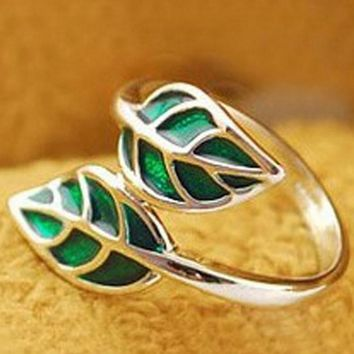 Hot New Fashion Cute Silver Korean style Double Green Leaf Leaves Ring
