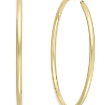 Round Hoop Earrings in 14k Gold Vermeil, 60mm