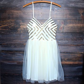 Chevron Sequin Darling Party Dress with Tulle Skirt in Cream