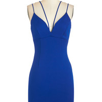 ModCloth Short Length Spaghetti Straps Sheath Strappier Than Ever Dress in Sapphire