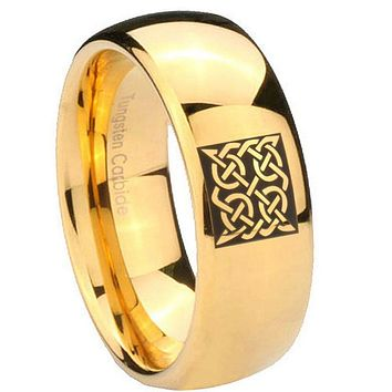 10MM Dome Square Celtic 14K Gold IP Shiny Tungsten Carbide Men's Ring