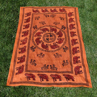 INDIAN ELEPHANT TAPESTRY BED SHEET BED SPREAD WALLHANGING COTTON 54 x 82 ORANGE on eBay!