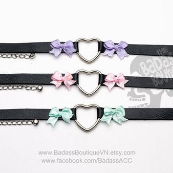 Kitty Heart Ring ribbon bow collar, choker, necklace. Cosplay cat lover Halloween Goth punk rock black vegan leather lavender cyan pink.