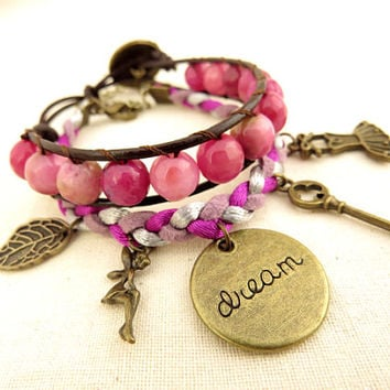 Pink Agate Wrap Bracelet with Charms