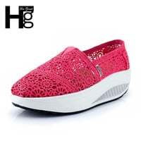 Delicate Cut Out Lace Women Casual Shoes Wedge Fitness Shoes Losing Weight Height Increasing XYP035