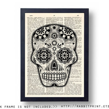 Sugar Skull Dictionary Page Print, Skull Mask Wall Art Print, Dictionary Art Print, 8x10 Wall Decor, Dictionary Print, Poster, Wall Decal