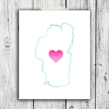 Lake Tahoe Watercolor Outline Digital Download - Art - Canvas - Poster - Print - Home decor - Typography - wall art - framed  - pink blue