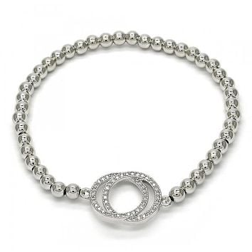 Rhodium Layered 03.207.0069.07 Fancy Bracelet, with White Micro Pave, Polished Finish, Rhodium Tone