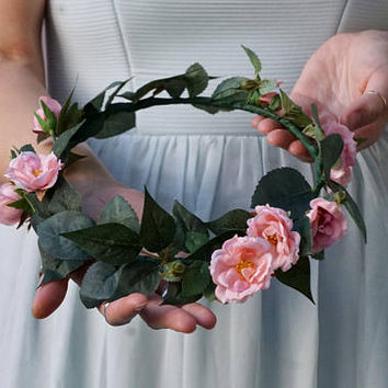 Flower crown wedding, bridal floral crown, pink flower headband, pink rose crown, floral headband