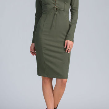 Corsette Bodycon Long Sleeves Dress- FINAL SALE
