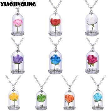 Rose Pendant Necklace Lady Retro Glass Vial Jewelry Gifts