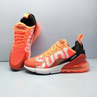 Supreme X Nike Air Max 270 Flyknit Orange Sport Running Shoes - Best Online Sale