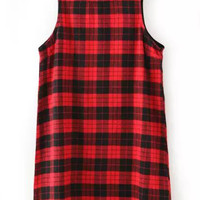 Plaid Sleeveless Shift Mini Dress