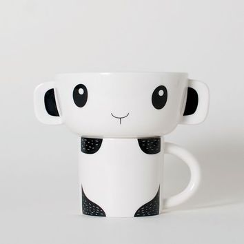 Ceramic Stacking Mug + Bowl - Panda