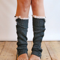 The Miss Molly - Charcoal Grey Slouchy Button Down LEG WARMERS with Knit Lace trim - Legwarmers (item no. 7-4)