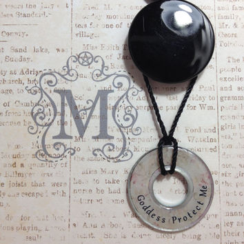 Goddess Protect Me Resin Coated Washer Necklace Asatru Wicca Pagan