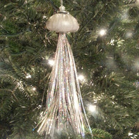 Jellyfish Christmas Ornament.   Beach Theme Decoration.  Silver Beach Ornament