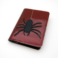 Vinyl Book Cover for Mini Composition Notebook, Spider Design, deep dark red sparkle vinyl and grey black toile oilcloth