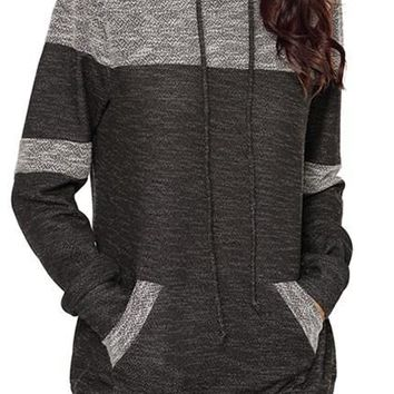 Chic Stylish Black Patchwork Hoodie with Pockets