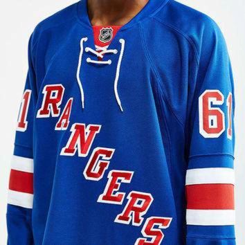 CHEN1ER Reebok NHL Premium Rangers Hockey Jersey - Urban Outfitters