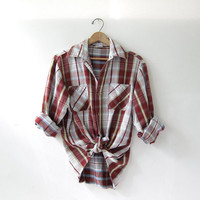 Vintage Plaid Flannel / Grunge Shirt / Thick cotton button up shirt / Big Mac Flannel