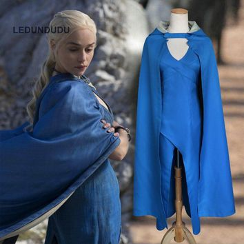 Hot Film Game of Thrones Cosplay Costumes Daenerys Targaryen Women Sexy Dress with Cloak Customized Song of Ice and Fire Clothes