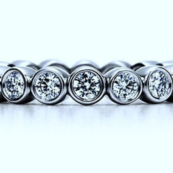 2.04ct Eternity Ring Round Diamonds White Gold 18kt White Gold JEWELFORME BLUE