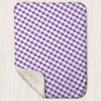 "Purple Gingham Pattern Baby Blanket - Sherpa Fleece Blanket Size 30"" x 40"" - Made to Order"