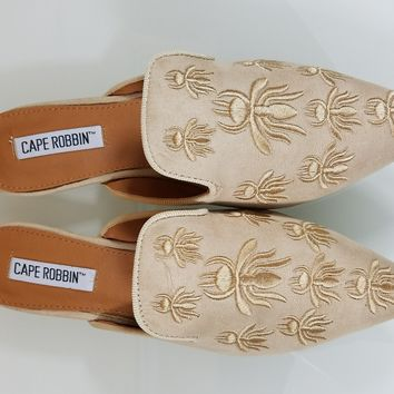 Pointy Toe Nude Vegan Suede Flats Mules Clog Embroidered Bee Design Slippers