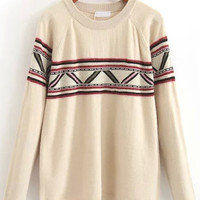 Apricot Geometric Print Knitted Sweater