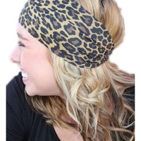 Lazy Leopard Headband, Brown-Multi