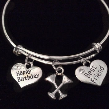 Happy Birthday Best Friend Martini Glasses Expandable Silver Charm Bracelet Adjustable Bangle Gift