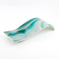 Fused Glass Spoon Rest, Teal Kitchen Decor, Kitchen Accessories, Modern Design, Spoon Holder, Spoonrest, Unique Gifts for Women